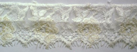 "2"" Floral Straight Edge Lace-White/Gold<>Chantilly / Eyelash Lace"