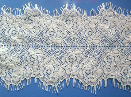 "4"" Double Scallop Ladder Center Lace-White<>Chantilly / Eyelash Lace"