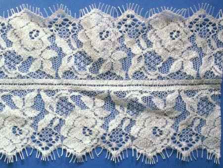 "4"" Double Scallop Ladder Center Lace-Raw White<>Chantilly / Eyelash Lace"