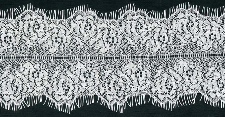 "3.75"" Floral Galloon Lace Ladder Center-White<>Chantilly / Eyelash Lace"