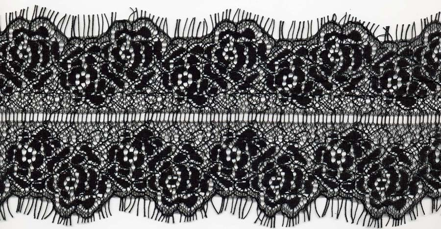 "3.75"" Floral Galloon Lace Ladder Center-Black<>Chantilly / Eyelash Lace"