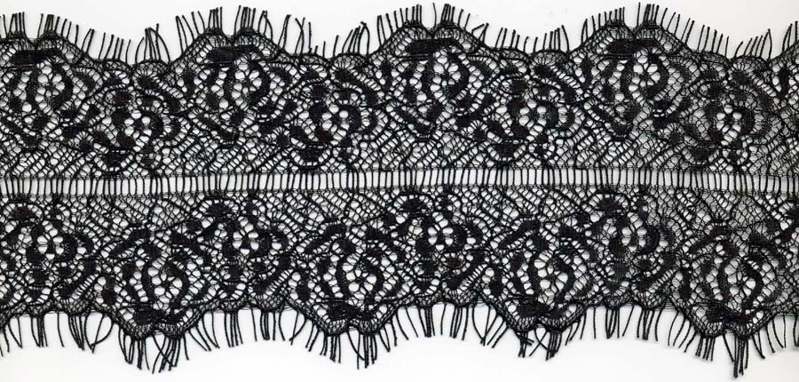 "3.25"" Galloon Lace With Ladder Center-Black"