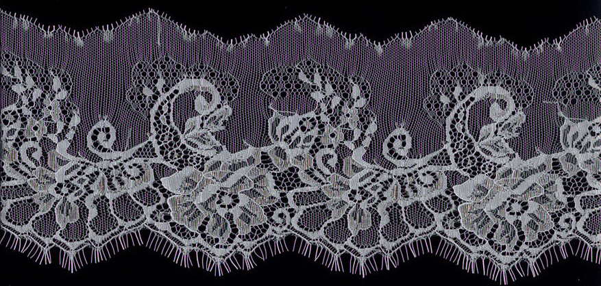 "5"" Floral Lace Edge-White<>Chantilly / Eyelash Lace"