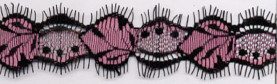 "1.58"" Ladybug Lace Galloon-Pink/Black"