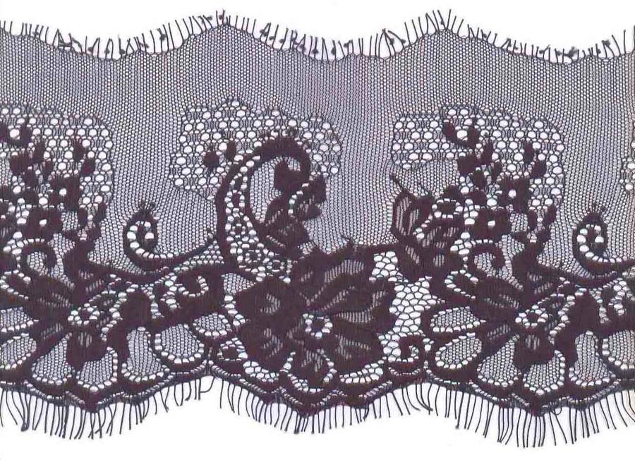 "5.125"" Curve Edge Lace-Black<>Chantilly / Eyelash Lace"