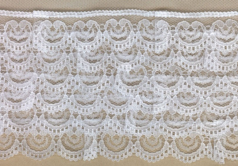 "3.25"" Poly 6 Row Ruffle Lace-White/White Net"