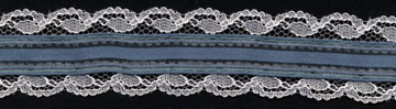 "1+3/16"" Poly Satin Organdie Lace-Ivory/Teal"
