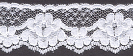 1.25 Mock Embroidered Edge Lace-White