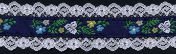 "1+9/16"" Floral Garden Lace-White-Navy/Aqua/White/Yellow/Green"