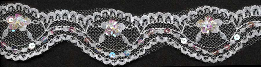 "35MM (1.38"") Scallop Lace-White/Clear Irridescent Sequin"