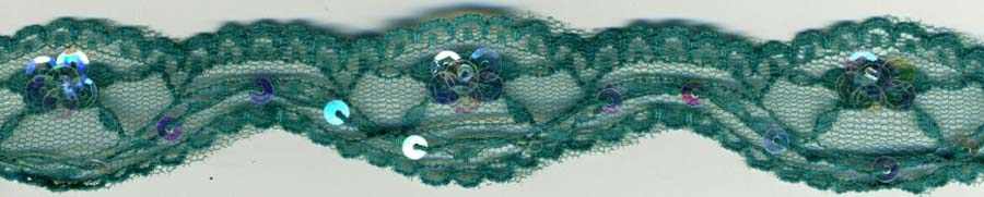 "35MM (1.38"") Scallop Lace-Dtm Teal/Clear Irridescent Sequin"