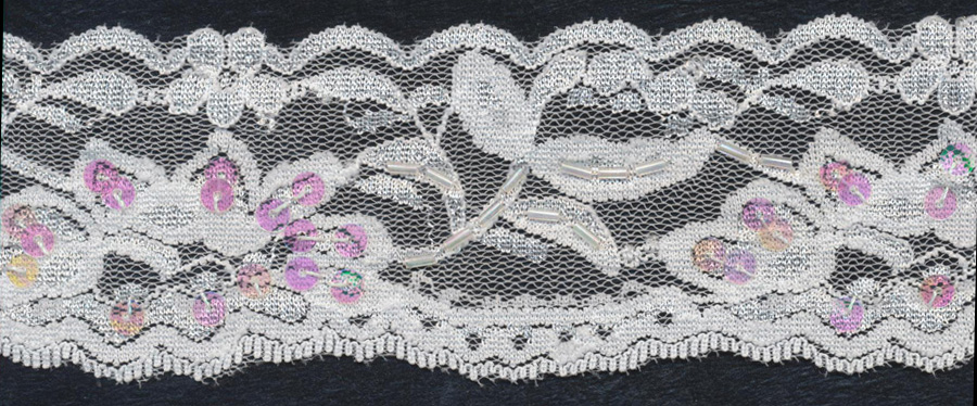 "2+3/8"" Beaded And Sequin Stretch Lace Edge-White Combo"