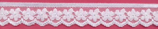 "1.18"" Nylon Stretch Lace Daisy Floral Edge White"