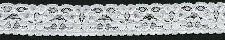 "1"" Nylon Stretch Lace Edge White"