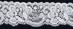 "1.25"" Nylon Stretch Lace Edge Raw White"