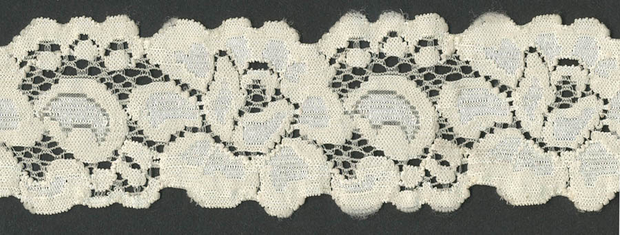 "1+9/16"" Nylon Stretch Lace Floral Galloon Ivory"