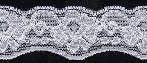 "1.38"" Nylon Stretch Lace Edge White"