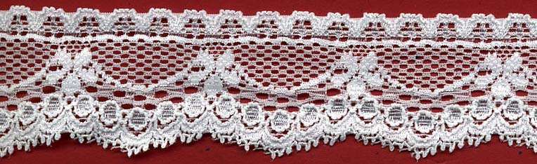 "1.38"" Nylon Stretch Lace Floral Drape Raw White"