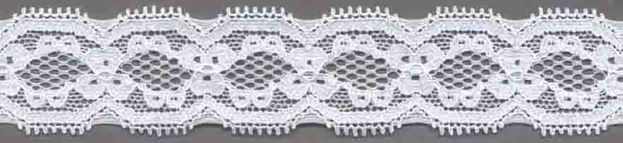 "1.316"" Nylon Stretch Lace Galloon White"