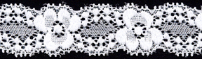 "1"" Nylon Stretch Lace Double Scallop Floral Galloon White"