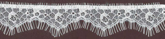 "1.25"" Nylon Stretch Lace Chantilly Edge White"