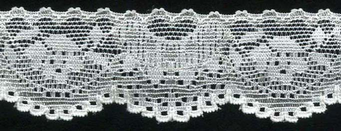 "1"" Stretch Lace Scallop Edge Black"