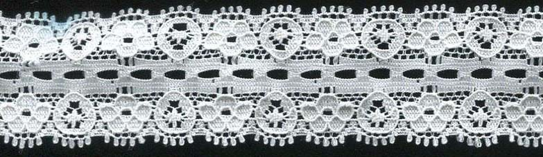"1.18"" Nylon Stretch Lace Picot Edge Beading White"
