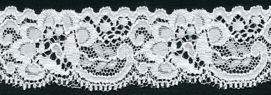 "1+3/16"" Nylon Stretch Lace Edge-White"