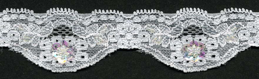 "1+1/2"" Stretch Lace Scallop-White Lace With Sequin And Beads<br>$0.25 per yard, see Special Pricing Tab"