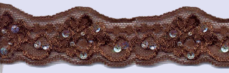 "1+1/8"" Stretch Lace Scallop-Brown Lace With Sequins And Beads<br>$0.10 per yard, see Special Pricing Tab"