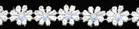 "1/2"" Rayon Venise Lace Daisy-White/Light Blue"