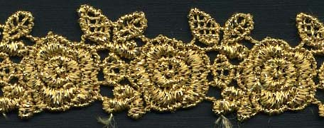 "1"" Metallic Venise Lace Daisy Galloon-Gold"