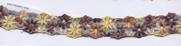 "1 1/8"" Cotton Embroidered On Sheer-Brown Combo"