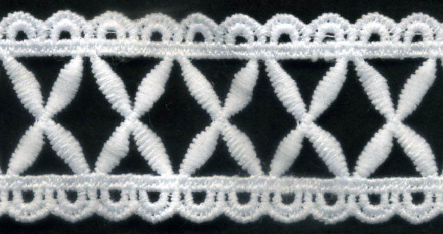 "1 1/2"" Cotton Venise Lace Scallop Edge with ""X"" Center-Raw White"