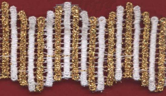 "1 1/2"" Metallic Venise Lace Galloon-Alternating Gold/White Combo"