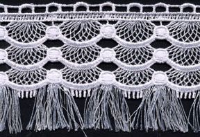 "1 9/16"" Scallop Fringed Lace-White"