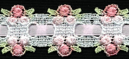 "1 3/16"" Rayon Venise Lace Triple Bud Ribbon Bead-White With Rose/Light Pink Roses"