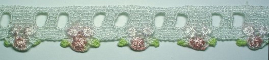 "1"" Triple Bud Beading-White With Rose/Light Pink Roses"