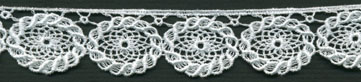 "1 1/8"" Rayon Venise Lace Flower Edge-White"