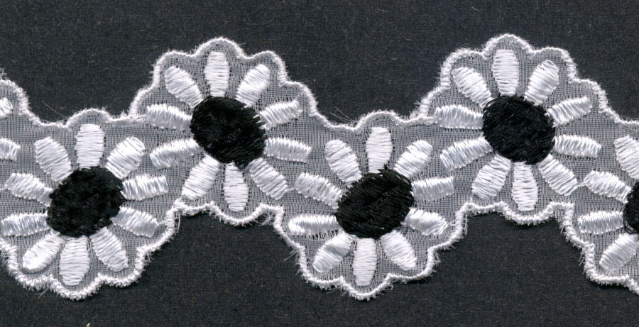 "1 7/8"" Rayon Venise Lace Daisy Shape-White/Black Center"