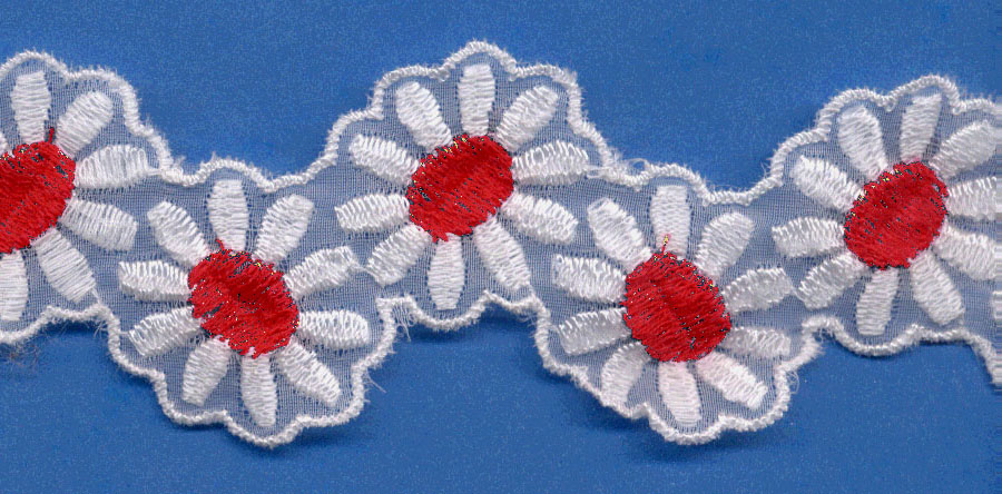 "1 7/8"" Rayon Daisy Shape-White/Red Center"