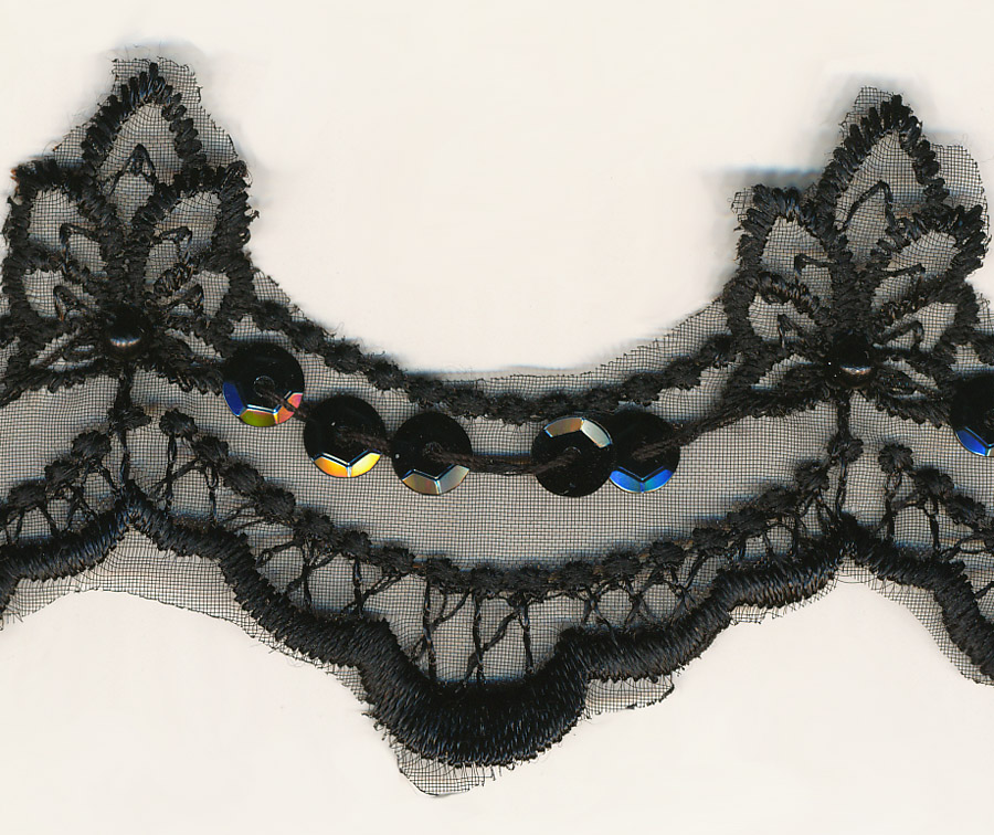 "1 3/4"" Beaded/Sequin Organza Lace-Black"