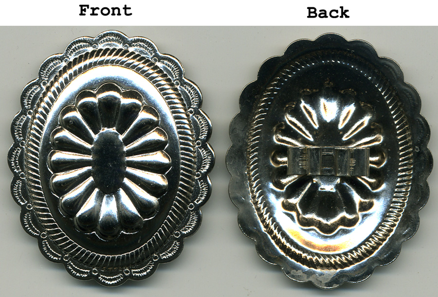 Size 95 Oval Concho With Back Bolo Slot-Nickel