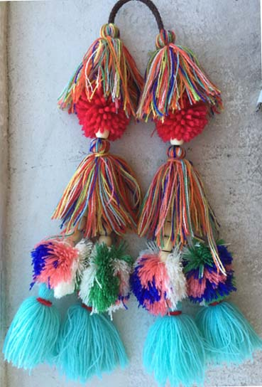 Tassel and Pom Pom Combo-Turqiose and Red