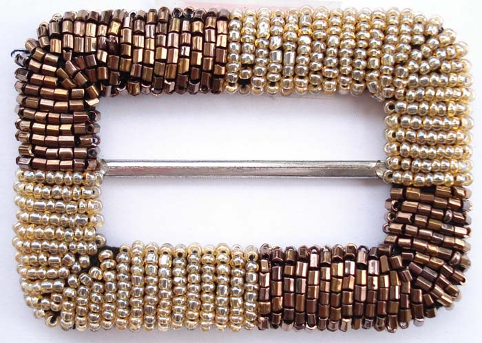 "3"" Beaded Rectangle Slider Buckle-Bronze Tone Beads/Gold Slider"