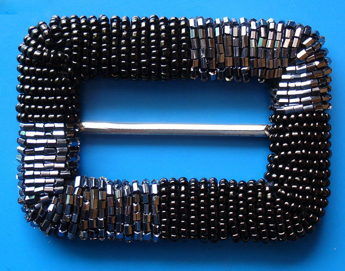 "3"" Beaded Rectangle Slider Buckel-Black Beads/Silver Slider"