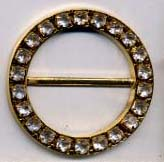 "1.25"" Rhinestone Circle Slider Buckel-Crystal Acrylic Stones/Gold Slider"