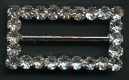 "1.25"" LEAD FREE Rectangle Slider Buckel-Crystal Glass Stones/Silver Slider"