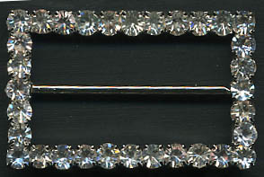 "1.58"" LEAD FREE Rectangle Slider Buckel-Crystal Glass Stones/Silver Slider"