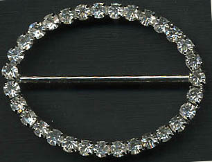 "1"" LEAD FREE Oval Slider Buckel-Crystal Glass Stones/Silver Slider"